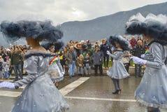Ståta av molniga flickor i karneval arkivfoto