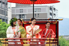 Ståta av prinsessor av den Gion Matsuri festivalen Arkivfoto