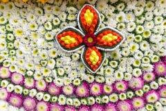 Ståtabilarna dekoreras med många sorter av blommor i ettåriga växten 42. Chiang Mai Flower Festival Royaltyfri Bild