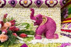 Ståtabilarna dekoreras med många sorter av blommor i ettåriga växten 42. Chiang Mai Flower Festival Arkivfoto
