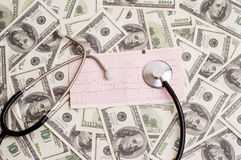 Stéthoscope au-dessus de graphique d'ecg et de 100 billets d'un dollar Images libres de droits
