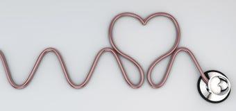 Stéthoscope, auscultation cardiaque d'instrument Images libres de droits