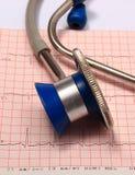 Stéthoscope avec le rapport de graphique d'électrocardiogramme Photos stock