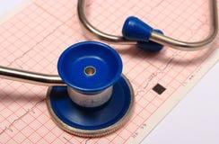 Stéthoscope avec le rapport de graphique d'électrocardiogramme Photos libres de droits