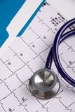 Stéthoscope de médecins et EKG Photographie stock
