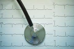 Stéthoscope et cardiographe photo libre de droits