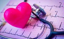 Stéthoscope et coeur rose Photo libre de droits