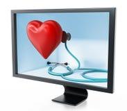 Stéthoscope et coeur rouge à l'intérieur de l'écran illustration 3D illustration libre de droits