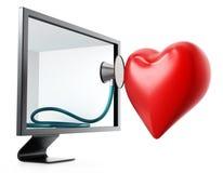 Stéthoscope et coeur rouge à l'intérieur de l'écran illustration 3D illustration de vecteur