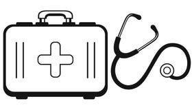 Stéthoscope et coffre de médecine Photo stock