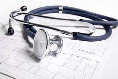 Stéthoscope et ECG Images libres de droits