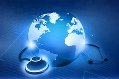 Stéthoscope et monde Image libre de droits