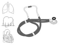 Stéthoscope et organes humains Photographie stock