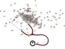 Stéthoscope et pillules médicales Image stock