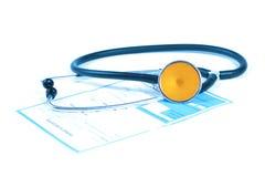Stéthoscope et prescription images stock