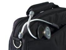 Stéthoscope et sac Photographie stock libre de droits