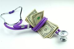 Stéthoscope et un-dollar Images libres de droits
