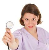 Stéthoscope femelle de fixation de docteur Images libres de droits