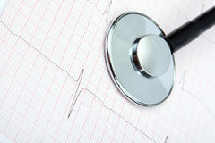Stéthoscope médical, et électrocardiogramme Images libres de droits