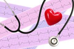 Stéthoscope médical et analyse de coeur, électrocardiogramme Photographie stock