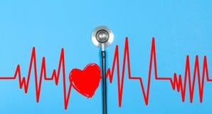 Stéthoscope médical et coeur rouge avec le cardiogramme Concepts de santé Photo libre de droits
