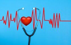 Stéthoscope médical et coeur rouge avec le cardiogramme Concepts de santé Image libre de droits