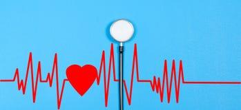 Stéthoscope médical et coeur rouge avec le cardiogramme Concepts de santé Photos libres de droits