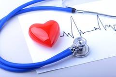 Stéthoscope médical et coeur rouge avec le cardiogramme d'isolement sur le blanc Concept médical de soins de santé Image stock