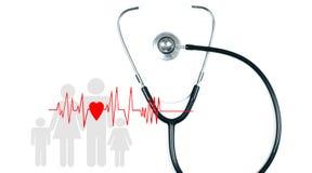 Stéthoscope médical et coeur rouge Concepts d'assurance médicale maladie Photo stock
