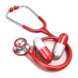 Stéthoscope rouge avec deux grandes pilules rouges Concept MÉDICAL Images stock
