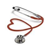 Stéthoscope rouge dans la forme du coeur Images stock
