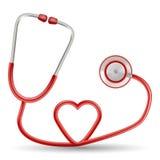 Stéthoscope rouge de vecteur dans la forme du coeur sur un fond blanc Illustration réaliste de vecteur Photos stock
