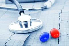 Stéthoscope sur ECG et pillules Images stock