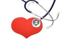 Stéthoscope sur le coeur Photographie stock libre de droits