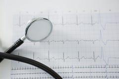 Stéthoscope sur le diagramme d'ECG Photographie stock libre de droits