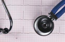 Stéthoscope sur le graphique de l'électrocardiogramme ECG stéthoscope réglé d'argent de médecine de mensonges de concept Fond de  Photos stock