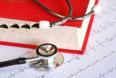 Stéthoscope sur un diagramme d'EKG Image stock
