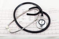 Stéthoscope sur un diagramme de l'électrocardiogramme (ECG) Photographie stock libre de droits