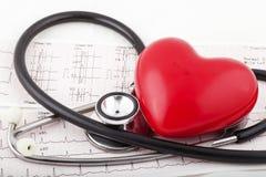 Stéthoscope sur un diagramme de l'électrocardiogramme (ECG) Photos stock