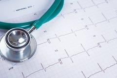 Stéthoscope sur un fond de diagramme de l'électrocardiogramme (ECG) Photos stock