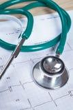 Stéthoscope sur un fond de diagramme de l'électrocardiogramme (ECG) Image libre de droits