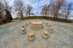 Stół cisza Ja jest kamiennym rzeźbą robić Constantin Brancusi fotografia royalty free
