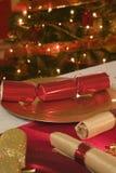 Stół dekorująca czerwień i złoto dla święto bożęgo narodzenia Zdjęcie Royalty Free