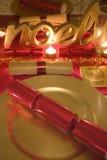 Stół dekorująca czerwień i złoto dla święto bożęgo narodzenia Obrazy Stock