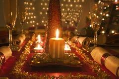 Stół dekorujący święto bożęgo narodzenia gość restauracji Obrazy Stock