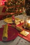 Stół dekorujący święto bożęgo narodzenia gość restauracji Zdjęcia Royalty Free