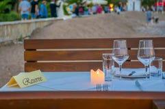 Stół dla blasku świecy Zdjęcie Royalty Free