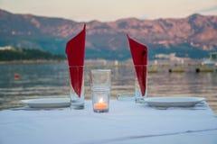 Stół dla blasku świecy Fotografia Stock