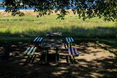 Stół i kolorowe ławki pod drzewem Zdjęcia Royalty Free