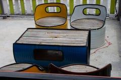 Stół i krzesło robić od nafcianego zbiornika Fotografia Stock